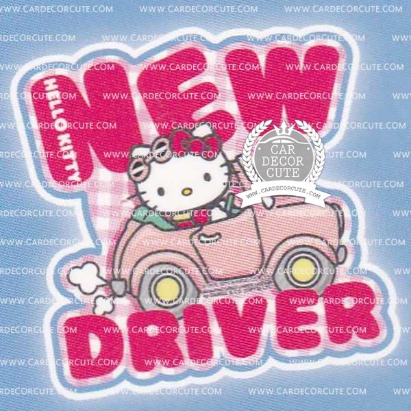 HELLO KITTY - สติกเกอร์ป้ายเตือนในรถสุญญากาศ NEW DRIVER