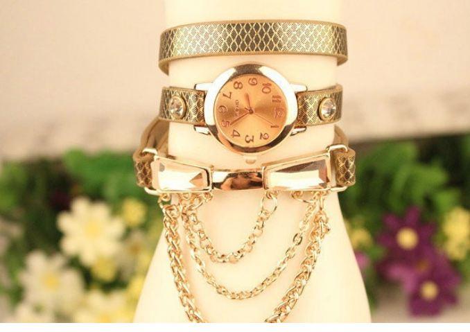นาฬิกาข้อมือผู้หญิง สายหนังแท้ ดีไซน์ เป็น สร้อยข้อมือ นาฬิกา พัน 3 รอบ นาฬิกาข้อมือ สาวเท่ แบบ ร็อค ๆ สาวพั้ง ห้ามพลาด 83544