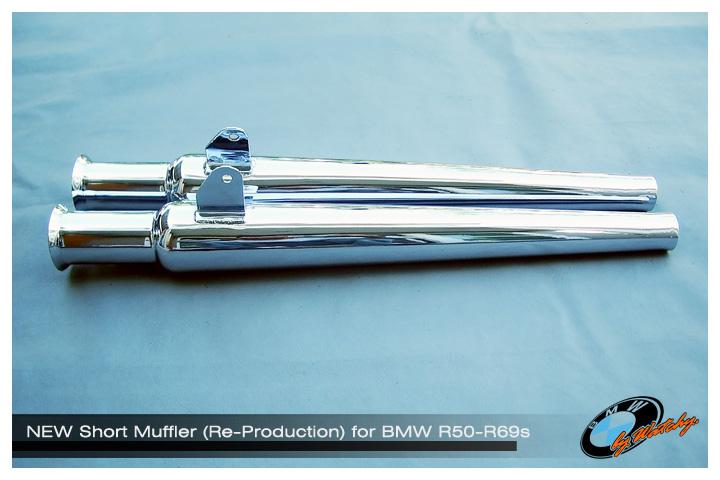 ท่อไอเสียแต่ง ทรงแจกันสั้น สำหรับรถหน้าสวิงอาร์ม เหมาะสำหรับ BMW R50-R69s