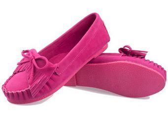 รองเท้าผู้หญิงหุ้มส้น ส้นแบน สำหรับใส่ทำงาน หรือ ใส่เที่ยว ตกแต่งเชือกผูกเป็นโบว์ด้านหน้า สีพื้น เย็บจับจีบ พื้นยาง สีชมพู 971648_3