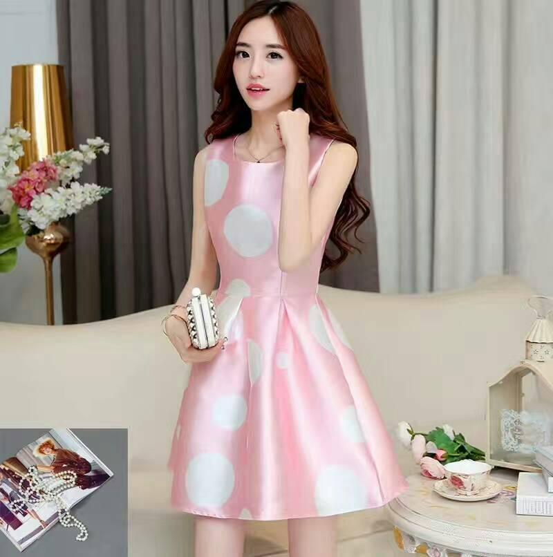 **สินค้าหมด Dress3897 ชุดเดรสทรงสวย มีซิปหลังใส่ง่าย ผ้าซาตินซิลค์เนื้อหนาลายวงกลมสีชมพูพาสเทล งานดีผ้าสวยหรูเกรดพรีเมียม ดีไซน์น่ารักสวยหวาน ใส่ออกงานได้