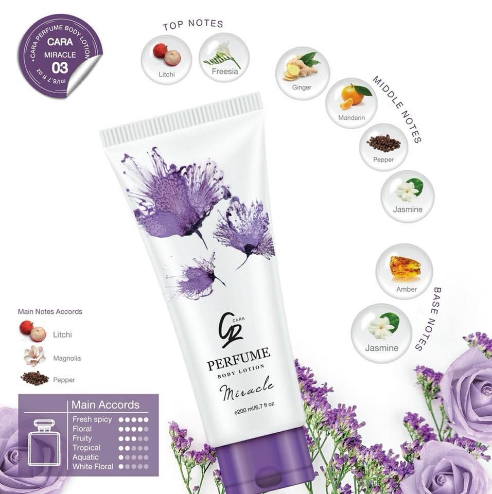 โลชั่นน้ำหอม CARA Perfume Body Lotion กลิ่น 03 Miracle