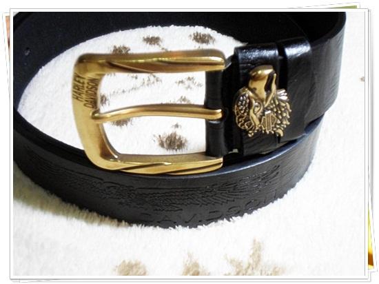 เข็มขัดหนังแท้ Harley เข็มขัดสำหรับนักขี่มอเตอร์ไซค์ เข็มขัด สายสีดำ หัวสีทอง ติดโลโก้ นกอินทรี แบบเท่ ๆ ของขวัญให้แฟน สุดเท่ Ha5801