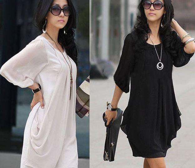 เดรสใส่ทำงาน สำหรับสาว Size ใหญ่ เนื้อผ้าซีฟอง ใส่สบาย สีขาว และ ดำ แถมฟรี เข็มขัด 1 เส้น no 98146