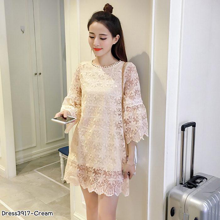 **สินค้าหมด Dress4087 ชุดเดรสลูกไม้ผ้าแก้วแขนยาวระบาย ซิปหลัง มีซับในอย่างดี งานดีทรงดี ผ้าสวยเกินราคาดูหรูดูแพงสุด ใส่ออกงานได้สบาย (สีครีม)