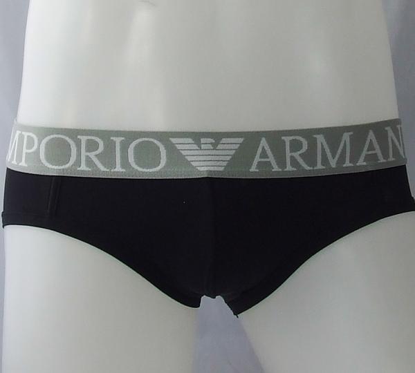 กางเกงในชาย Emporio Amani Briefs : สีดำ ขอบเทาEA