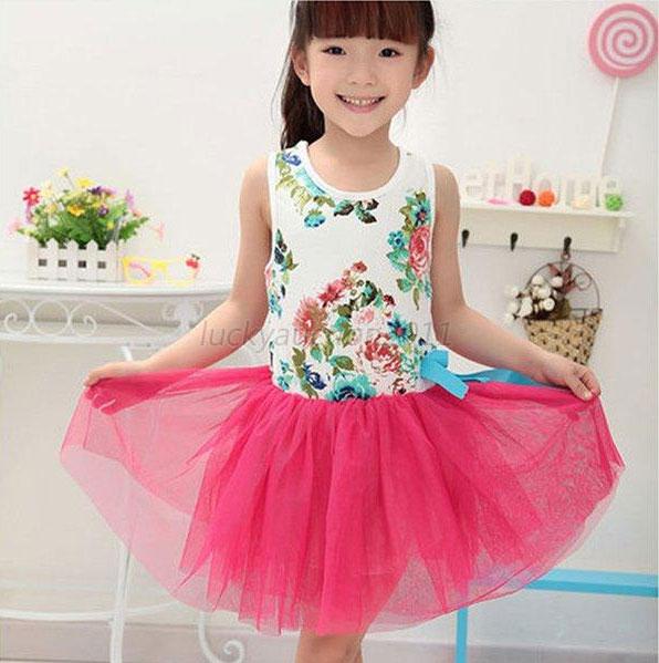 ชุดเดรสกระโปรงเด็กหญิงวินเทจ วัย 2-5 ขวบ (สูง 90-100 ซม.)