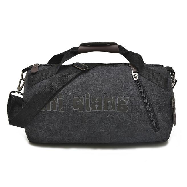 [ Pre-Order ] - กระเป๋าแฟชั่น ผู้ชาย ผู้หญิงใช้ได้ สะพายข้าง สีดำ ทรงกระบอก ช่องใส่ของเยอะ Canvas+Nylon คุณภาพ ตัดเย็บอย่างดี