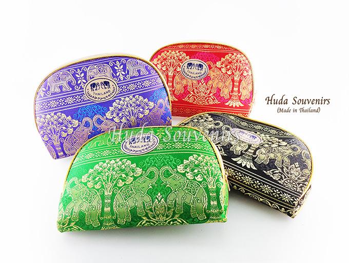 ของที่ระลึกไทย กระเป๋าผ้าลายไทย ขอบทอง (ขนาด: ขอบทอง L) ลายช้างป่า หนึ่งโหลคละสี จำหน่ายยกโหล สินค้าพร้อมส่ง
