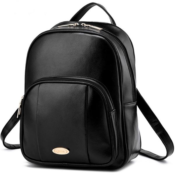 [ ลดราคา ] - กระเป๋าเป้แฟชั่น สไตล์ยุโรป สีดำคลาสสิค ดีไซน์สวยเก๋เท่ๆ งานหนังคุณภาพแบบหนาอย่างดี ใช้ได้ทั้งหนุ่มๆสาวๆ ที่ชอบงานมีสไตล์เป็นของตัวเอง
