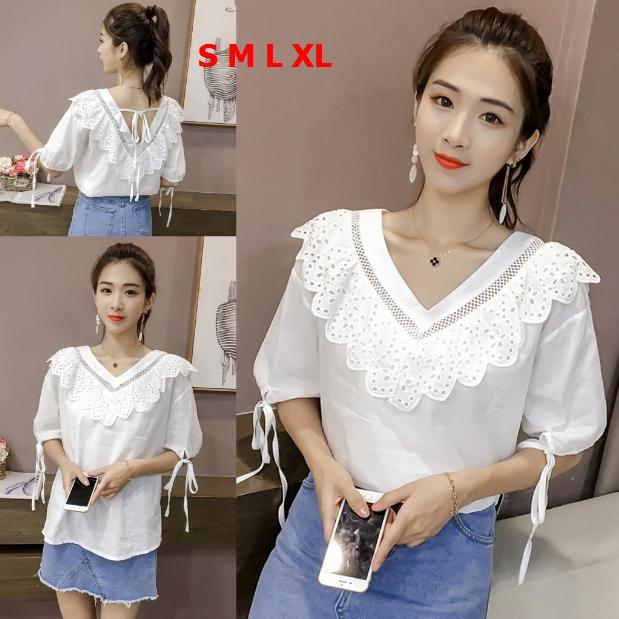 เสื้อแฟชั่นเกาหลี คอวีแต่งระบาย สายผูกหลัง สีขาว