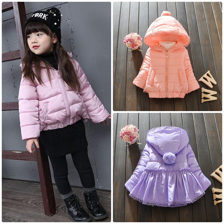 เสื้อกันหนาวผ้าร่ม ตัวพอง เอวจั๊ม สำหรับเด็กหญิง อายุ 2-7 ปี