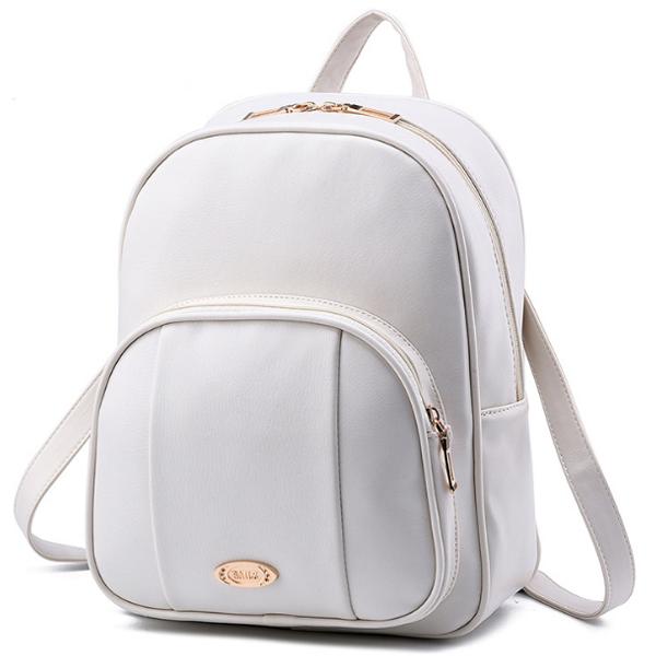 [ ลดราคา ] - กระเป๋าเป้แฟชั่น สไตล์ยุโรป สีครีมขาว ดีไซน์สวยเก๋เท่ๆ งานหนังคุณภาพแบบหนาอย่างดี ใช้ได้ทั้งหนุ่มๆสาวๆ ที่ชอบงานมีสไตล์เป็นของตัวเอง