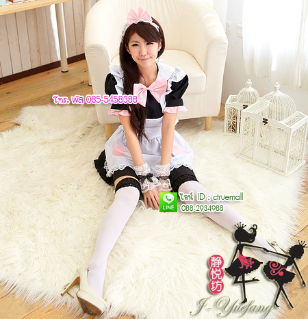 ชุดเมดเอี๊ยมขาวน่ารัก ชุดคอสเพลย์ ชุดแฟนซีอาชีพ ชุด maid ชุดแฟนซีน่ารัก ชุดแฟนซีญี่ปุ่น