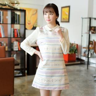 """size L""""พร้อมส่ง""""เสื้อผ้าแฟชั่นสไตล์เกาหลีราคาถูก เดรสแขนยาว ลายกราฟฟิกสีทอง คอปกและแขนสีครีม กระดุมหลังคอ1เม็ด ซิปหลัง มีซับใน"""