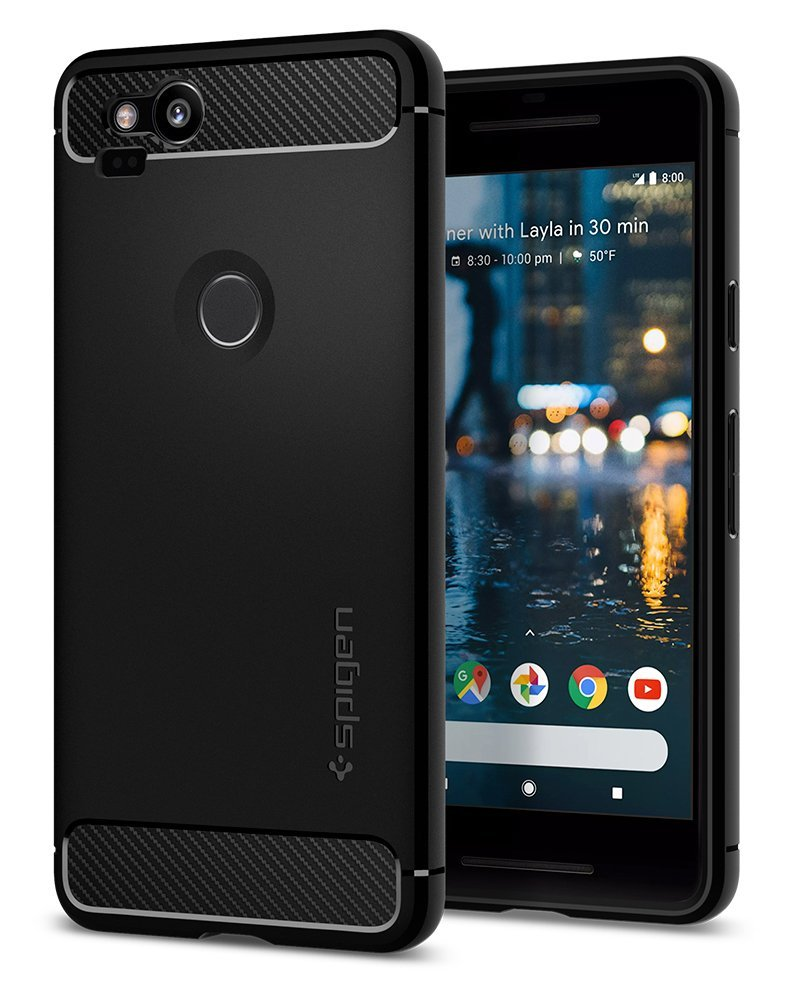Spigen Rugged Armor Google Pixel 2 Case with Resilient Shock Absorption and Carbon Fiber