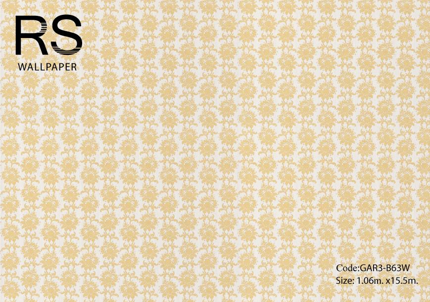 วอลเปเปอร์ลายดอกไม้เป็นทางเส้นตรงตัวดอกสีเหลืองทองพื้นสีขาว GAR3-B63W