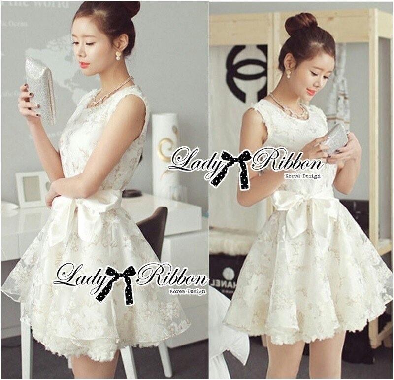 Lady Ribbon's Made Lady Camilla Sweet Elegant Blossom Print Ribbon Dress