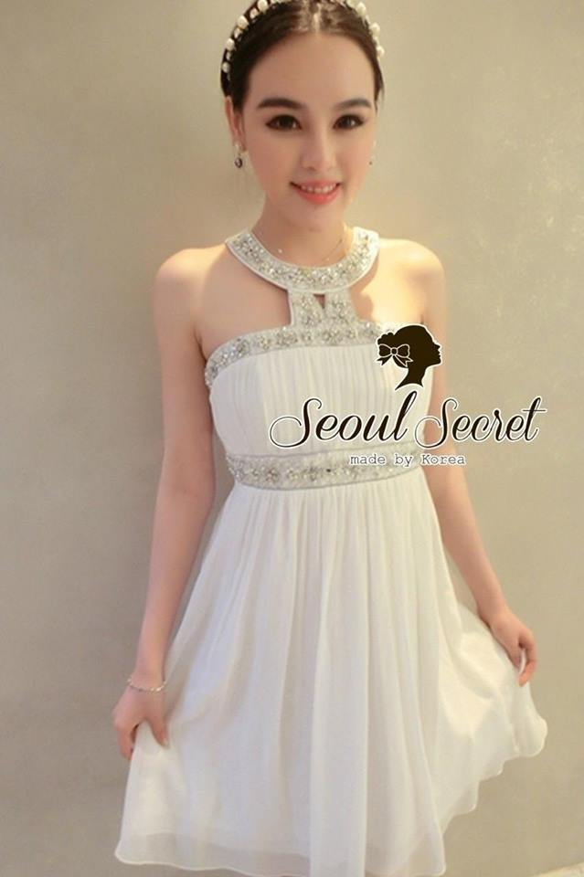 Luxury White Pleat Tube Top Dress Diamond Furnish by Seoul Secret