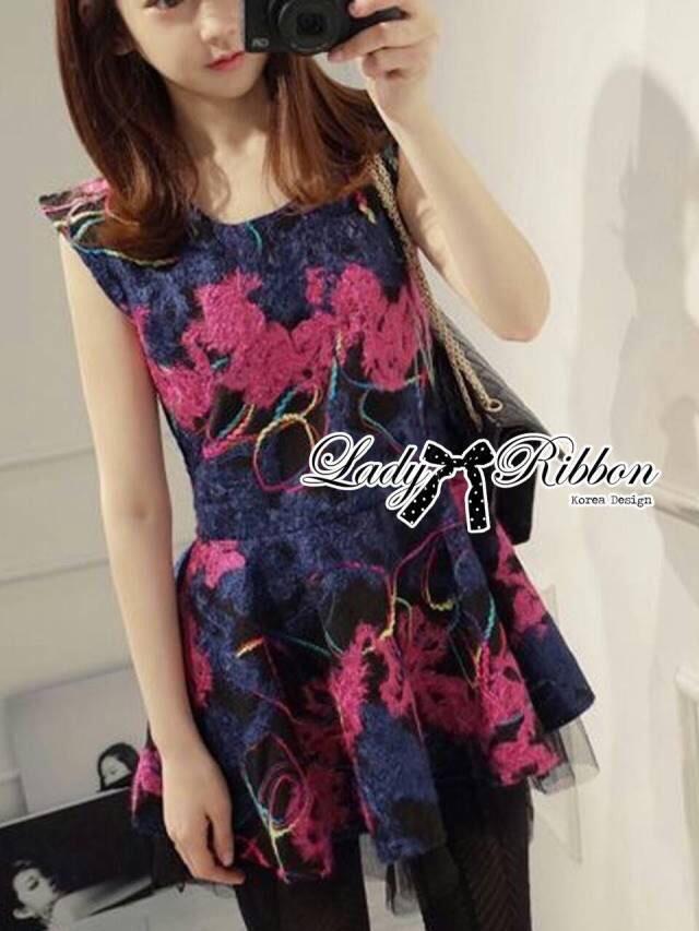 Lady Colourful Embroidered Mini Dress