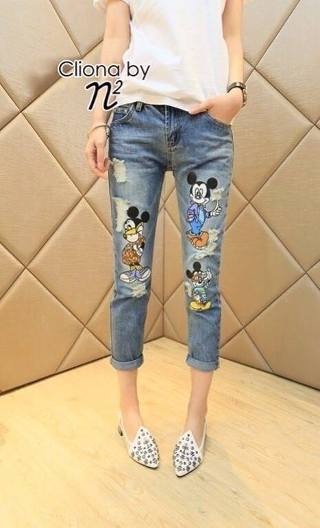 Cliona made,Mickey Mouse Print Denim Casual Jean