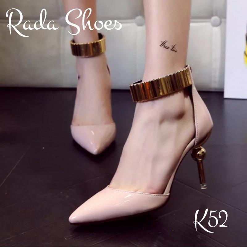รองเท้าแฟชั่น ส้นเข็มแต่งอะไหล่กลมเครือบทอง