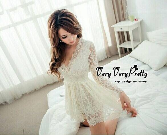 Mini Dress Flora Lace Fashion Korea