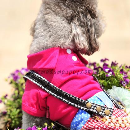 เสื้อโปโลสุนัข สีชมพูสด (พร้อมส่ง)