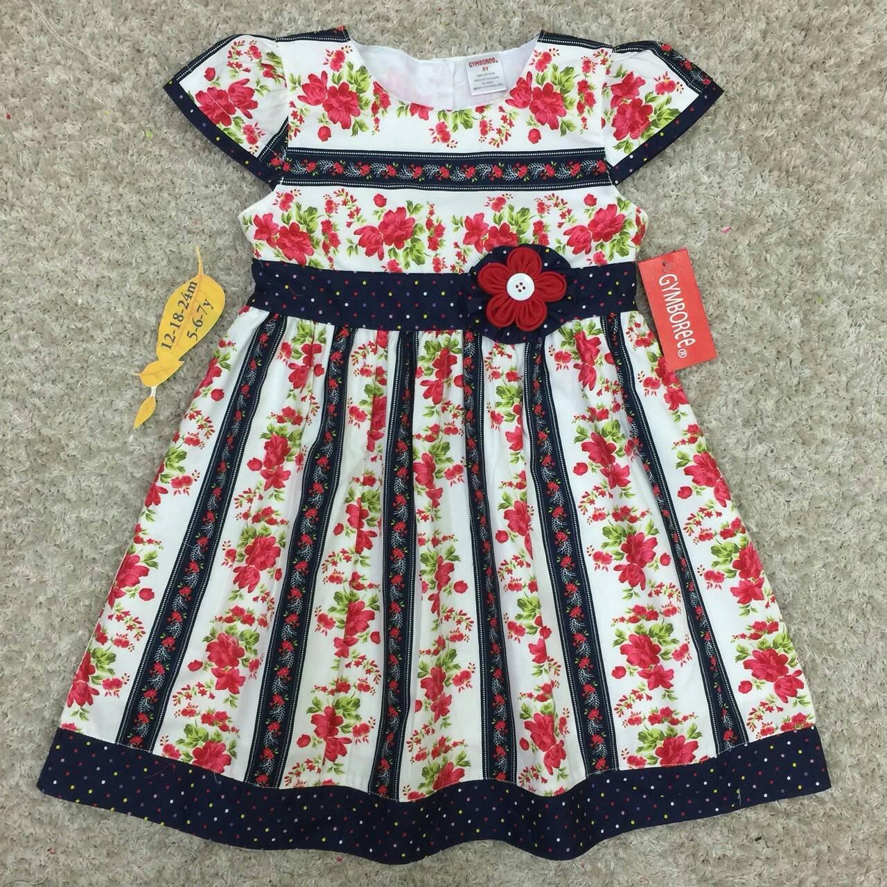 เสื้อผ้าเด็ก 1-2ปี size 12m-18m-24m ลายดอกไม้ สีกรม แต่งด้วยดอกไม้ผ้า handmade