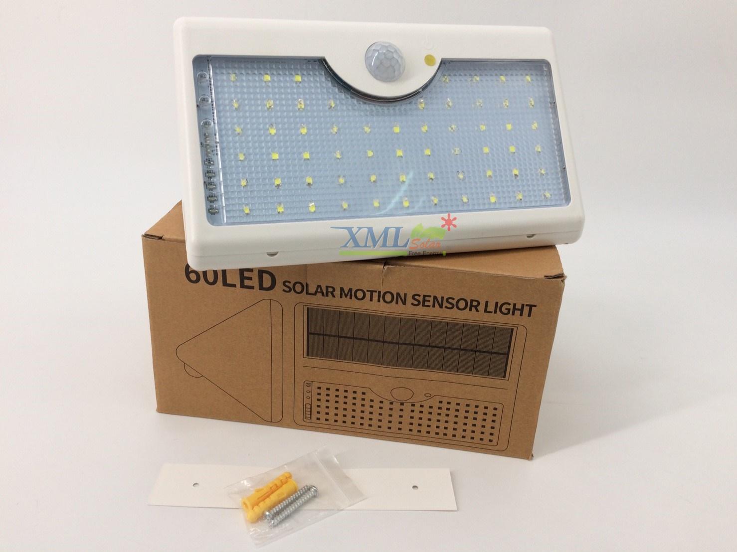 โคมไฟโซล่าเซลล์ ติดผนัง 60 SMD LED + Motion (เเสง : ขาว)