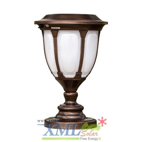 โคมไฟหัวเสาโซล่าเซลล์ ทรงโรมัน (สีน้ำตาล) (เเสง : ขาว)