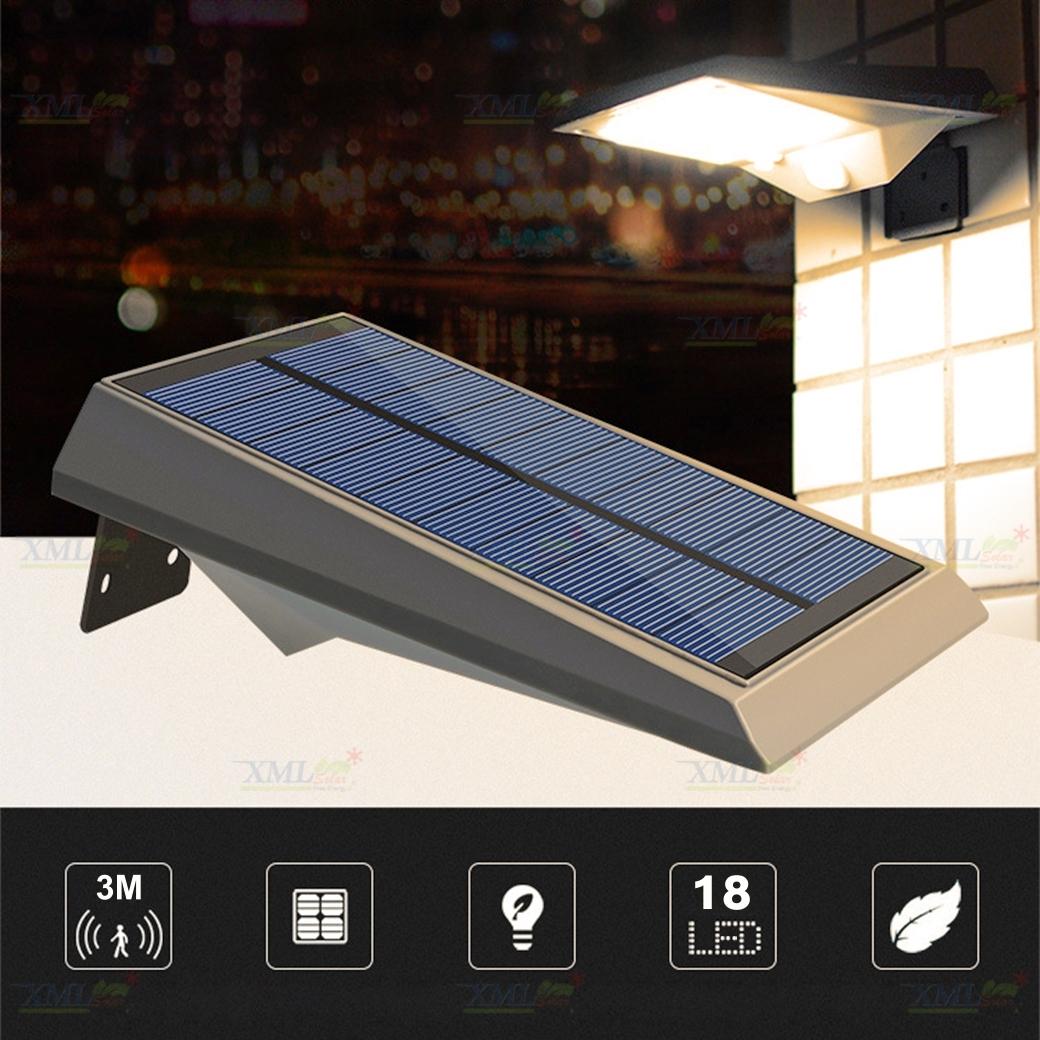 ไฟผนังโซล่าเซลล์ 18 SMD LED motion sensor (แสง:สีเหลืองวอมไวท์)