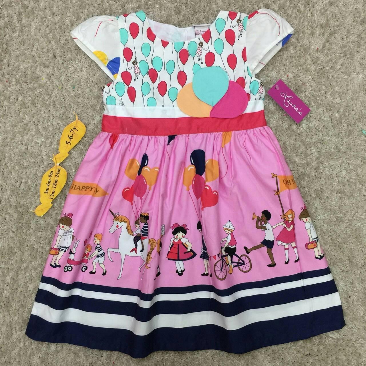 เสื้อผ้าเด็ก 5-7ปี size 5Y-6Y-7Y ลายลูกโป่ง สีขาว/ชมพู