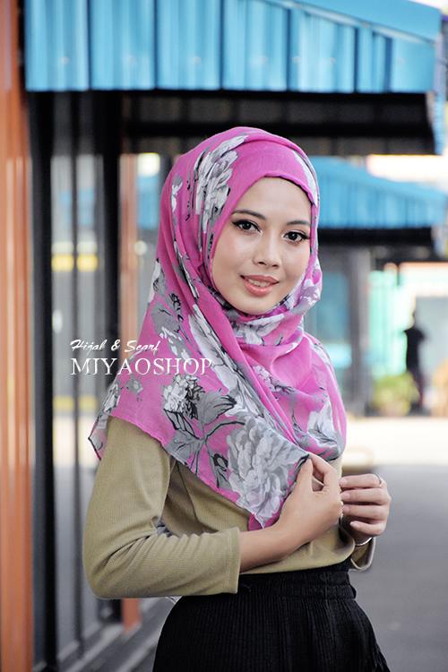 ผ้าคลุม อิสลาม วิสคอส viscose พิมพ์ลาย ดอกไม้ โทนชมพู HJ07008