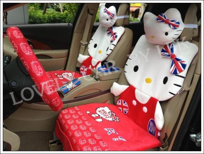 ชุดหุ้มเบาะลาย Hello Kitty แบบเต็มตัวลายธงชาติอังกฤษ (แดง)