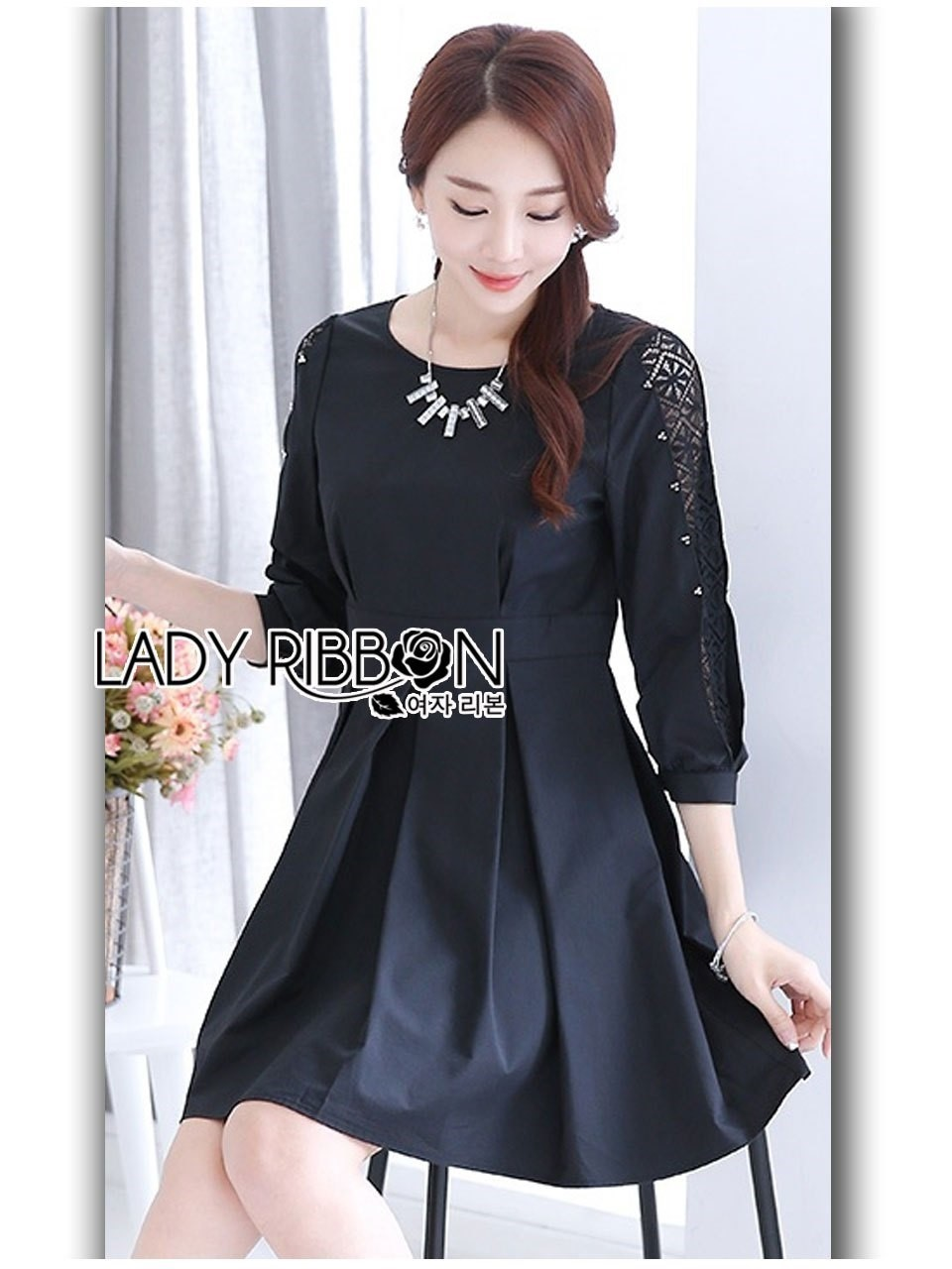Brady Sweet & Smart Embellished Black Cotton Pleated Dress