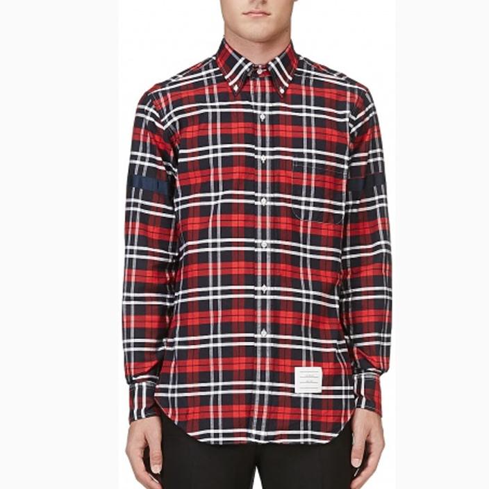 เสื้อเชิ้ตThom Browne Red Black White Plaid Button-Down Shirt