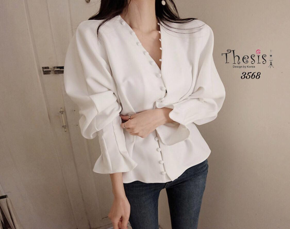 เสื้อเกาหลี ดีเทลกระดุมเรียงยาวติดด้านหน้า