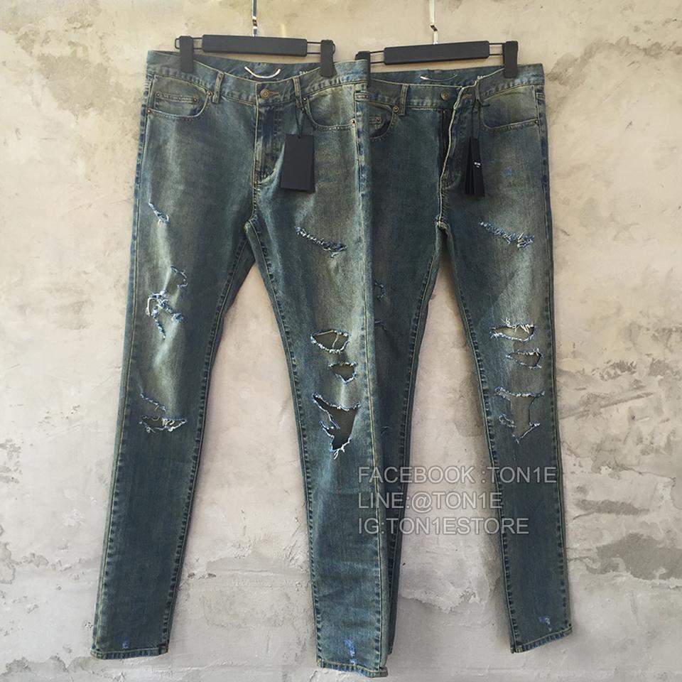 กางเกงSaint Laurent Distressed Skinny Jeans 15.5CM