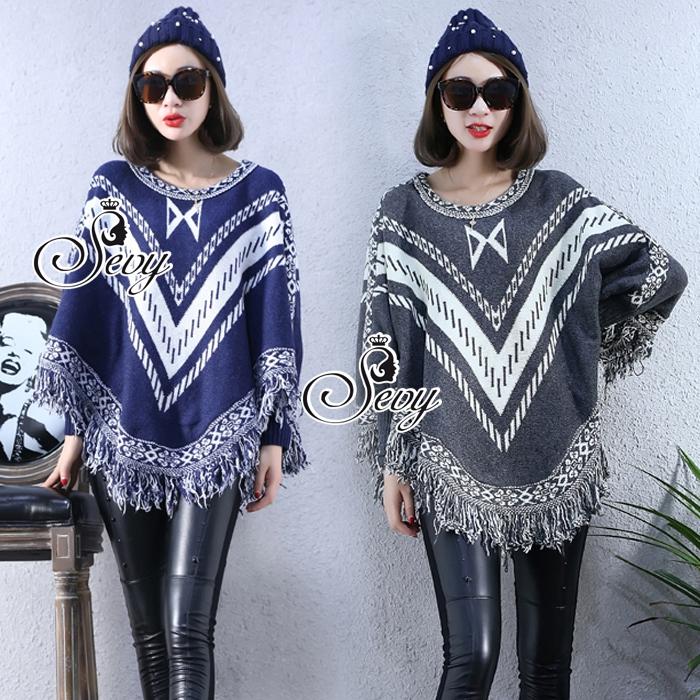 Winter Tassel V Stripes Knit Bat Sleeve Blouse