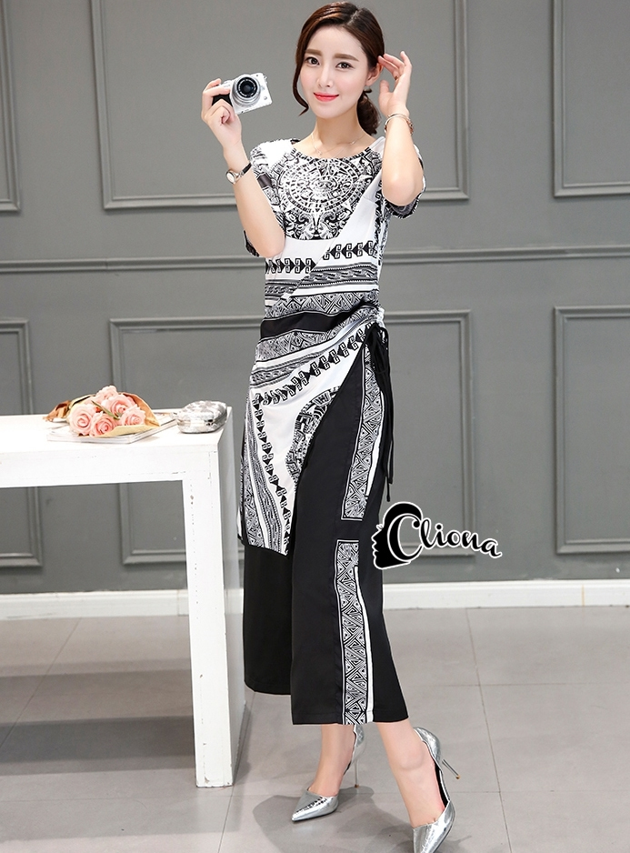 เสื้อผ้าเกาหลี พร้อมส่งB&W Given Line Luxury Top + Pant Set