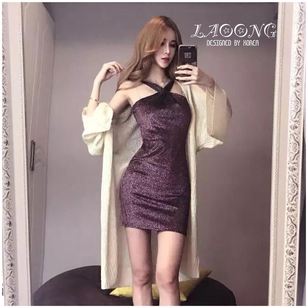ชุดเดรสเกาหลีพร้อมส่ง Dress สีม่วงกากเพรชวิ้งๆ