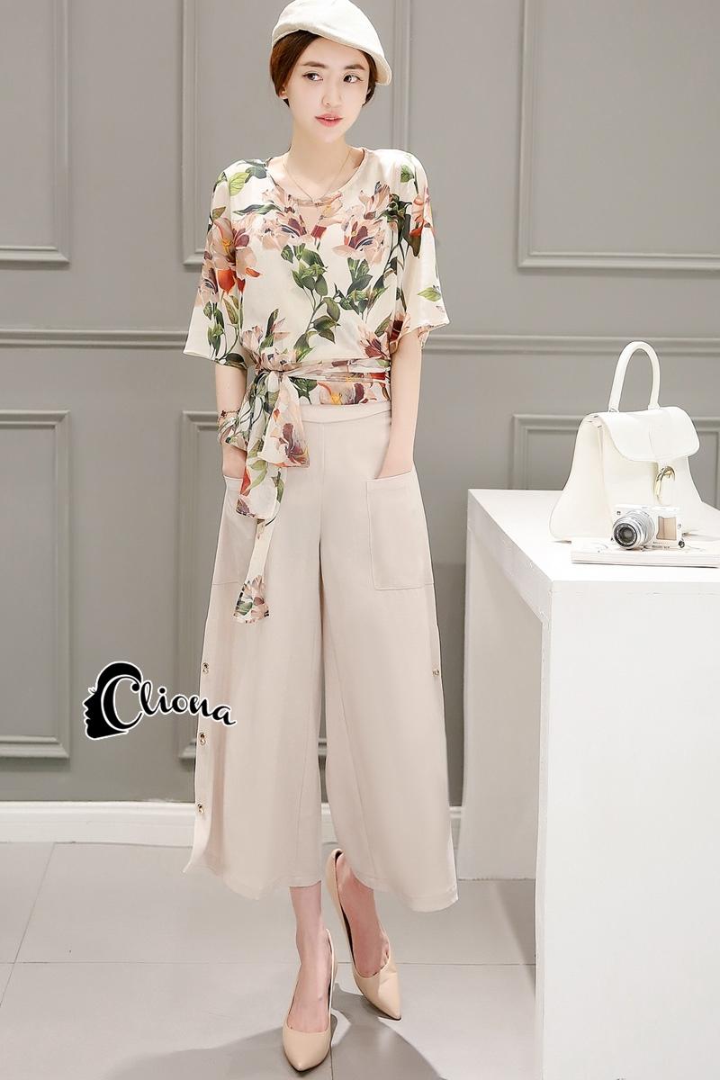 เสื้อผ้าเกาหลี พร้อมส่ง Botanica Top + Pant Set