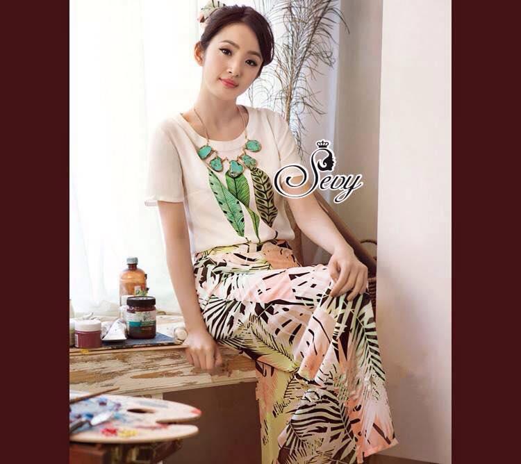 เสื้อผ้าเกาหลี พร้อมส่ง Set เสื้อกระโปรงลายชายทะเลโทนสีพาสเทล กระโปรงทรงเอพิมพ์ลายใบไม้สีสันแสนหวาน