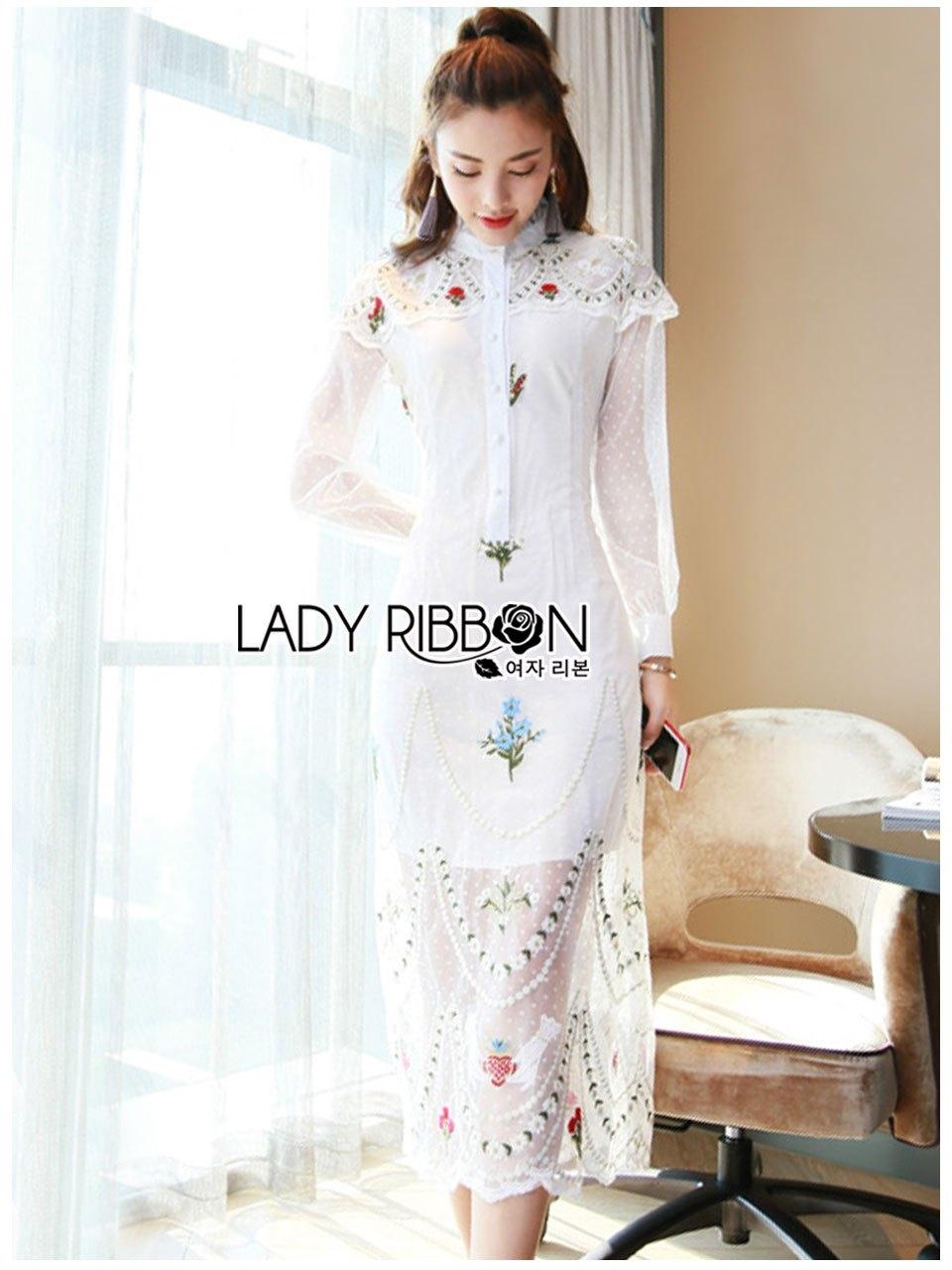 Paulene Sretsis Princess Embroidered Lace Long Dress