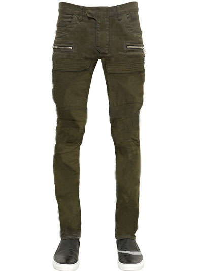 กางเกงBalmain Cotton Denim Cargo Biker Jeans