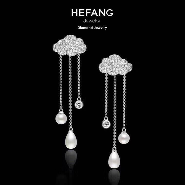 พร้อมส่ง Hefang Jewelry ต่างหูเพชร