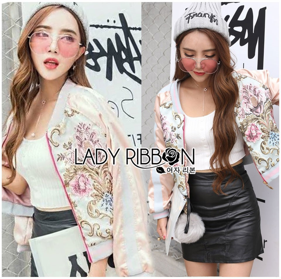 Sabina Street Style Chic Flower Embroidered Pink Satin Bomber Jacket