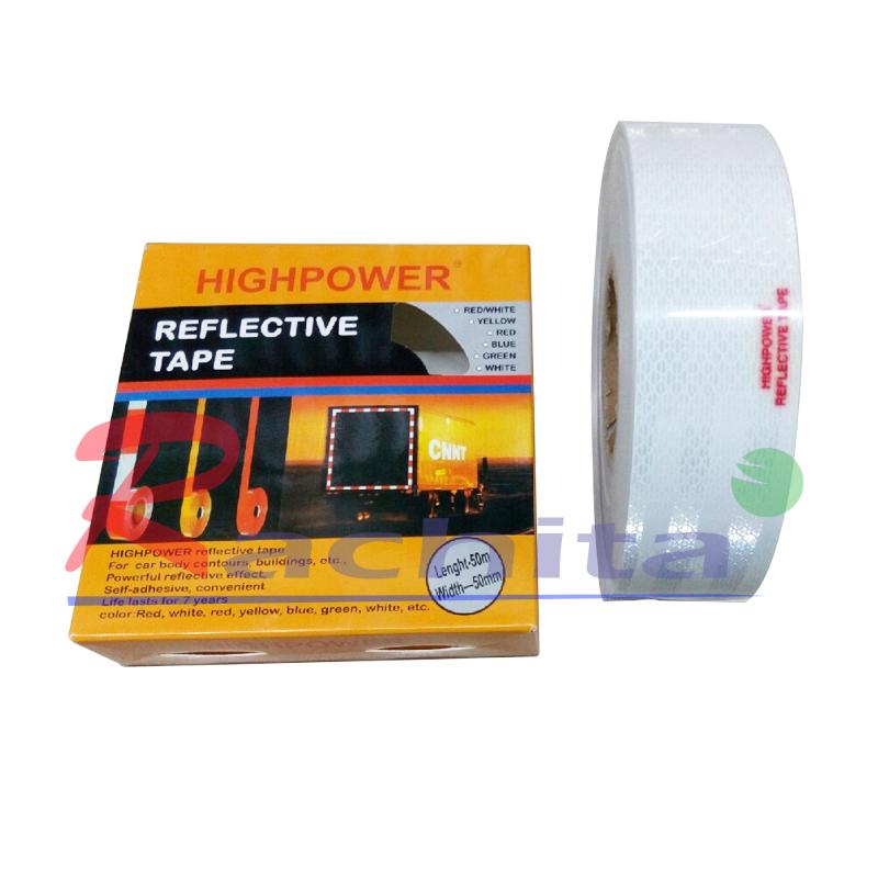 """REFLECTIVE TAPE เทปกาว สะท้อนแสง สีขาว กระจายแสงได้กว้าง หน้ากว้าง 2"""" ยาว 50 เมตร"""
