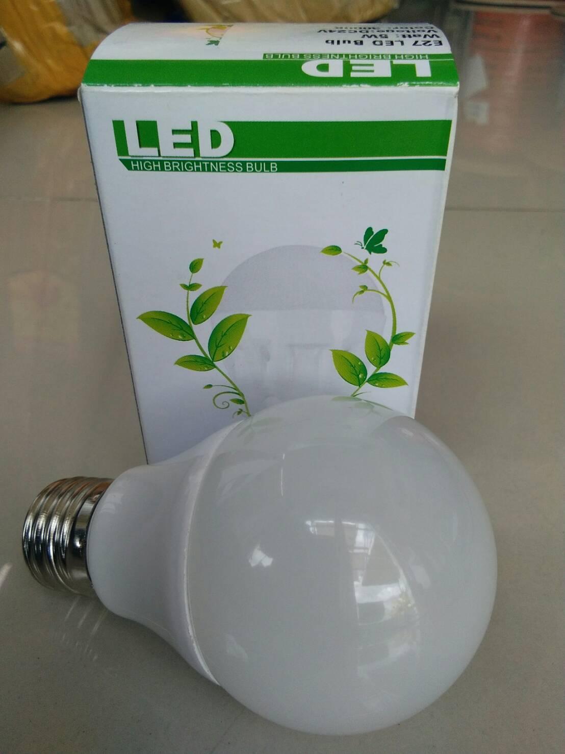 หลอดไฟ LED E27 Bulb ขนาด 5W 12/24V 4200-4500K PL